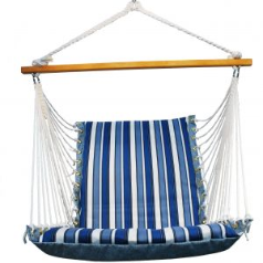 Algoma  Reversible Hanging Chair - Blue Stipe/ Blue Solid