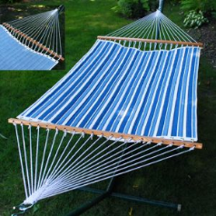 Algoma Quilted Reversible Hammock - Tropical Palm Stripe