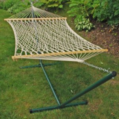 Algoma Single Cotton Rope Hammock and Stand Combination