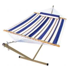 Algoma Single Fabric Hammock and Stand Combination - Blue Stripe