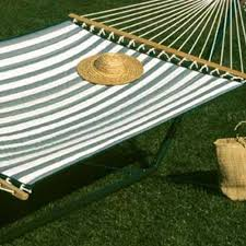 Castaway Hammocks Large Quilted Hammock - Green/White Stripe