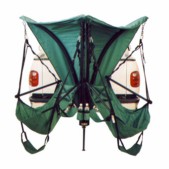 Trailer Hitch Chair Stand With Chairs And Shade Canopy