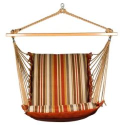 Algoma Reversible Hanging Chair - Roxen Stripe Nutmeg/Burnt Orange