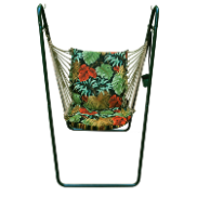 Algoma Swing Chair and Stand Set - Navy Tropical Print