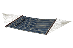 Bliss Euro Quilted Hammock with Button Tuft Pillow - Blue/White