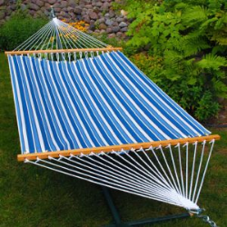 Algoma Fabric Hammock - Tropical Palm Stripe Blue