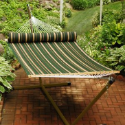 Algoma Quilted Fabric Hammock w/Matching Pillow - Green Stripe