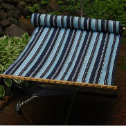 Algoma Quilted Fabric Hammock w/Matching Pillow - Blue Stripe