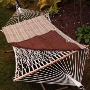 Algoma Quilted Reversible Rope Hammock Pad - Crestwood Stripe/Brown Solid