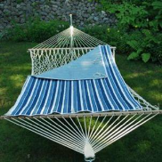 Algoma Quilted Reversible Rope Hammock Pad -  Tropical Blue Stripe
