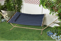 "Bliss ""S"" Stitched Polyester Quilted Hammock - Denim Blue"