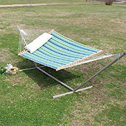 Castaway Hammocks Large Quilted Hammock - Sea Grass Topanga Stripe