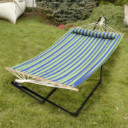 Bliss Hammock with Pillow - Green/Blue/Yellow Stripe